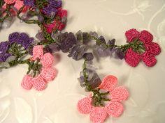 Crochet Necklace Needle Lace Purple Pink Peach Oya Flowers