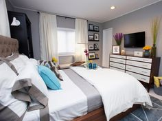 How to Decorate a Bedroom: How To Decorate A Bedroom With White And Grey Bed And Wooden Drawer And TV Stand Design