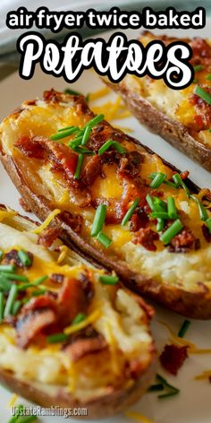 These easy air fryer twice baked potatoes are a creamy and cheesy side dish that is a perfect addition any meal. Hearty baked potatoes are filled with mashed potatoes, sour cream and cheese and topped with bacon and chives. Air Fryer Oven Recipes, Air Fry Recipes, Air Fryer Dinner Recipes, Cooking Recipes, Potato Recipes, Potato Meals, Easy Twice Baked Potatoes, Stuffed Baked Potatoes, Mashed Potatoes