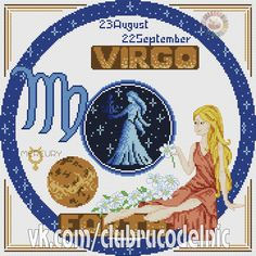 Community wall photos – 65,047 photos | VK Cross Stitch Embroidery, Cross Stitch Patterns, Stitching Patterns, Horoscope Signs, Zodiac Signs, Cross Stitch For Kids, Virgo Zodiac, Diy And Crafts, Photo Wall