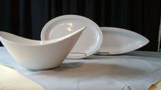"Oval Ceramic Serving Bowl (12.5""x9.5"" Tallest: 6.5"" Shortest: 4""), Oval Ceramic Platter (21""x7""), Arrow (13""x11"") Platter, Serving Bowls, Arrow, Ceramics, Tableware, Ceramica, Pottery, Dinnerware, Dishes"