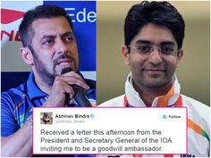 IOA: Salman And Abhinav As The Indian Goodwill Ambassador For The Rio Olympics 2016! :http://www.gagbrag.com/ioa-salman-and-abhinav-as-the-indian-goodwill-ambassador-for-the-rio-olympics-2016/