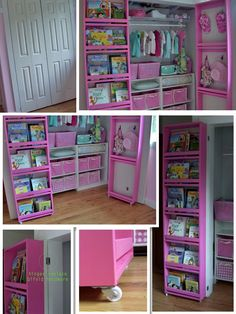 This is one of the most unique storage ideas I have seen for a bi-fold door closet. Holds lots of possibilities. This is one of the most unique storage ideas I have seen for a bi-fold door closet. Holds lots of possibilities. Closet Door Storage, Closet Doors, Storage Shelves, Storage Ideas, Kid Book Storage, Doll Storage, Kids Bedroom Organization, Toy Rooms, Little Girl Rooms