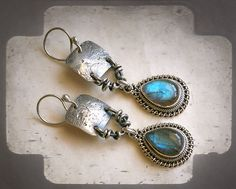 Primitive Rustic Sterling Silver Earrings & Flashy Labradorite Tear Drops . Unique Handmade Silver Jewelry Rustic Tribal Boho Southwestern