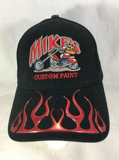 2ec2223ddb7 Mike s Custom Paint 3D Flames Embroidered Black Baseball Hat Cap Adjustable   Paramount  BaseballCap
