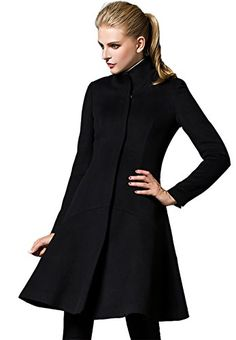 Shmily Girl WomenWinter Slim Collar Woolen Coat Jacket Large Black * You can get additional details at the image link.