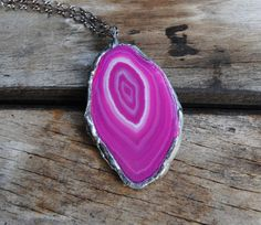 50% SALE Agate necklace pink agate slice pendant by IskraCreations