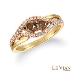 Le Vian Chocolate Diamonds® 5/8 CT. T.W. Diamond Bypass Split Shank Ring in 14K Two-Tone Gold - Zales