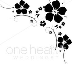 Free Clip Art Black and White Flowers | flower flourishes clipart ...