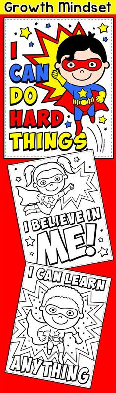 Instill a growth mindset in your little superheroes with these fun coloring pages! This is a SUPER activity for back to school to encourage positive thinking and an 'I can' attitude.