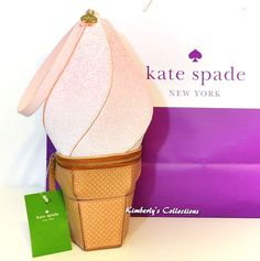 KATE SPADE New York Flavor Of The Month Pink Ice Cream Wristlet Bag NWT | eBay