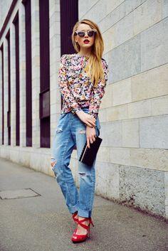 Denim + red Jimmy Choo Heels + Floral Shirt