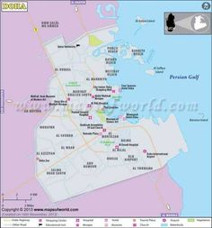 doha map depicts the exact location of the capital city of qatar state doha city is situated on the eastern coast of the qatar peninsula