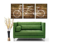 3 Panel Set - Wood background withTandem Bike Canvas Art - Each 12x16 with a Gallery Wrap. via Etsy.