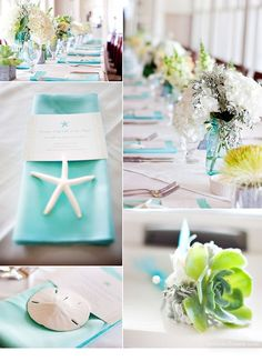 Small pops of aqua in the vases and napkins; paper menu band and white finger starfish and sand dollar accents.