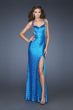 La Femme - 18724 Striking Sequined Strap Evening Gown $149.00  http://shopstyle.it/l/iySm