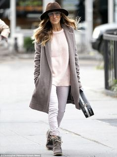 Winter wardrobe: Sarah Jessica Parker rocked a stylish, neutral yet warm ensemble on the school run