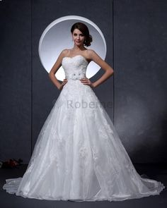 Robe de mariée naturel de col en cœur avec sans manches textile taffetas en organza