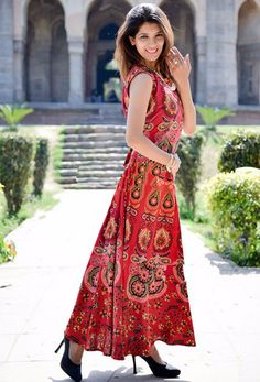 Maxi Skirts – Handmade Hippie Dress Peacock Print Mandala Dress – a unique product by IndianCraftPalace on DaWanda