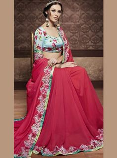 Pink Georgette Embroidery Work Saree 83111