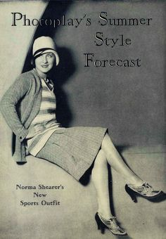 Downton Abbey Fashion Era - Norma Shearer - 1929 Summer Outfit. In colour, line and design, Hollywood fashion offers its creative genius to American women.#flappers #1920sfashion