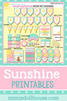 Sunshine Party Printable Collection (Teal/Pink). Easy to print at home party decorations for your sunshine birthday party. Sunshine Printables for your party via @mimisdollhouse
