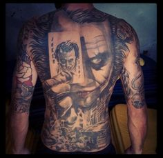 Incredible Joker Back Tattoo - http://gotattooideas.com/incredible-joker-back-tattoo/
