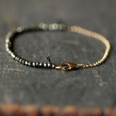 Pyrite Fool's Gold Bracelet Delicate Gemstone by ShopClementine