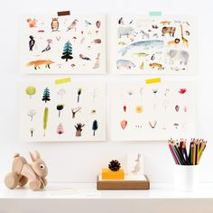 Are you interested in our animal watercolour print? With our wildlife prints for kids room you need look no further. Watercolor Animals, Watercolor Print, Watercolor Ideas, Handmade Wooden Toys, Creative Workshop, Card Envelopes, Kids Prints, Diy Wall Art, Woodland Animals