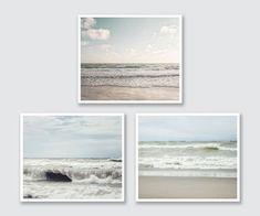 Beach Prints or Canvas Set, 3 Beach Landscape Prints, Soft Blue Pale Blue Tan, Canvas Art Wrap or Pr Coastal Wall Decor, Beach Wall Decor, Wall Decor Set, Beach Landscape, Landscape Prints, Neutral, Beach Print, Coastal Homes, Pastel Blue