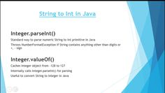 2 examples to parse String to Int in Java