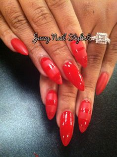Red matte banded stiletto nails  Www.jazzynailstylist.com