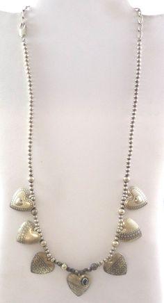 "Vintage Carolyn Pollack 925 Silver Heart Necklace 18-24""Adjustable(25.9g)-447747 #CarolynPollack #BallBeaded"