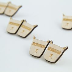 Cat Stud Earrings are made from birch plywood. Cat Stud Earrings are designed, cut and made in Helsinki. Cufflinks, Stud Earrings, Jewellery, Cats, Accessories, Jewels, Gatos, Stud Earring, Schmuck