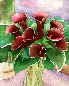 red calla lilies by eunice olson