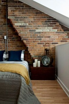 Exposed brick. #bedroom #home #zappos