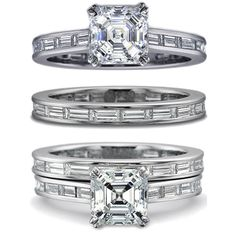 baguette bands on engagement ring - Google Search