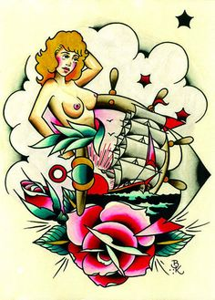 Sailor Jerry by Brian Kelly Ship Nude Tattoo Designs Canvas Art Print – moodswingsonthenet