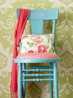 wooden chair in turquoise