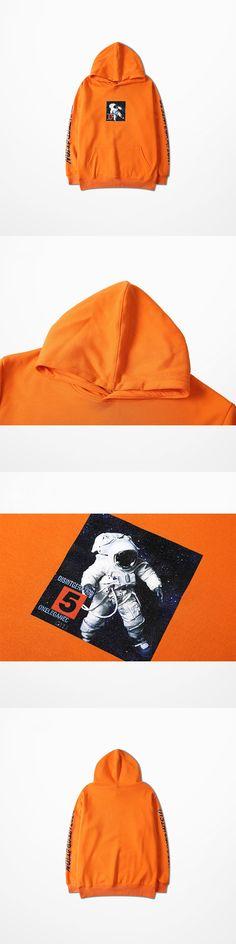 Fashion Chic Mens Hoodies And Sweatshirts Hip Hop Astronaut Print Orange Skateboard Sweatshirt High Street Harajuku Hoodie Men