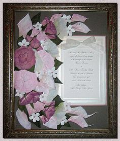 Pressed Wedding Bouquets with invitation, save the date and wedding photo!!!