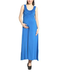 Take a look at the MOMO Maternity Empire Blue Ruffle Cora Maternity Maxi Dress on #zulily today!