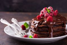 Chocolate Protein Pancakes with fresh Raspberry's Recipe