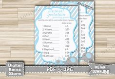 Baby Shower Animal Gestation with Elephant Blue Gray Theme - Animals Pregnancy - Animal Gestation Guessing Game - Instant Download - eb11 by DigitalitemsShop on Etsy