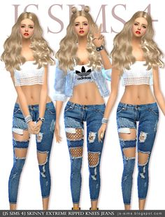 "[JS SIMS 4] Skinny Extreme Ripped Knees Jeans    » DOWNLOAD «    please tag ""jinglestartk"" if you use this,    and I'll reblog your post, thank you <3"