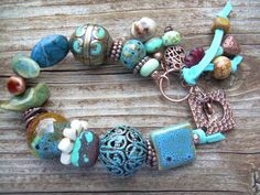Turquoise River Chunky Mixed Material and by JewelFireDesigns