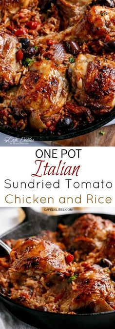 One Pot Italian Sundried Tomato Chicken and Rice - Healthy Food Recipes One Pot Dishes, One Pot Meals, Food Dishes, Slow Cooker Recipes, Cooking Recipes, Healthy Recipes, Cheap Recipes, One Pot Recipes, Batch Cooking