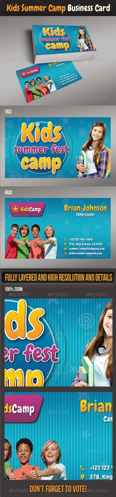 Kids Summer Camp Business Card activity, ad, adventure, advert, advertisement, business card, camp, campus, child, children, class, day, education, fest, holiday, kid, kids, kids card, pamphlet, party, program, recreation, sport, summer, summer camp, best business card