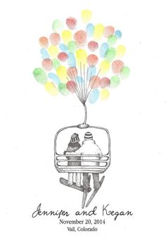 Couple on Ski Lift Lifted by Balloons by PTWatersDesigns on Etsy