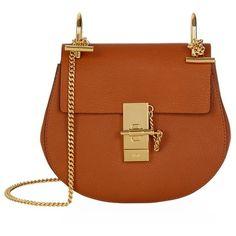 Chloé Mini Drew Shoulder Bag ($1,590) ❤ liked on Polyvore featuring bags, handbags, shoulder bags, bolsos, sac, chloe handbags, brown purse, miniature purse, chloe shoulder bag and round purse